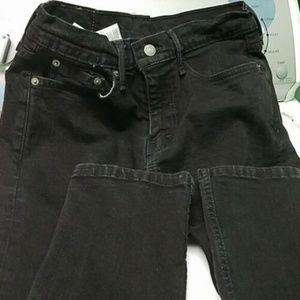 502 Levis Black Jeans Mens Slim Stretchy 29W 32L